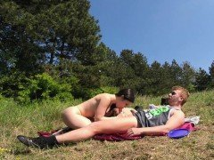 Huge tits Latina banging in nature