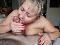 UK mature MILF giving blowjob to a fat old man