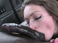 Taxi MILF deepthroating big black cock