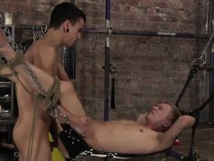 Submissive twink gets his ass tied up and roughed up