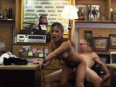 Dirty Blonde Waitress Banged On Desk In Back of Pawn Shop
