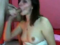 Sexy and pretty girl sucks and fucks on webcam