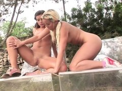 Hardcore double penetration in group sex outdoor