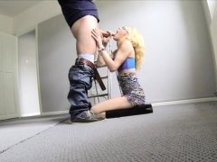 Thin petite blonde in high heel boots takes a big cock