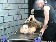 Large boobs chick hard fucked in bizarre bondage xxx scenes