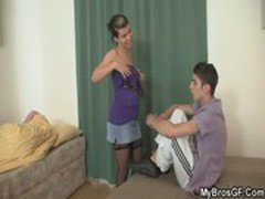 He finds his GF rides his bro's cock