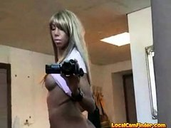 Girl with video camera play her pussy