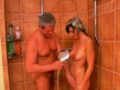 Breathtaking old and young action with honey seducing daddy
