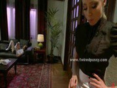 Pervert maid ripping clothes from babe