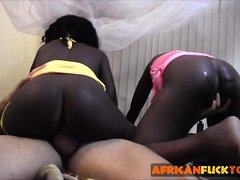 Amazing black babes from Africa making out