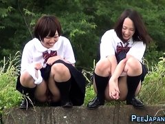 Weird asian students pee
