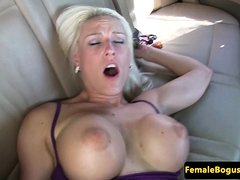 Busty cabbie babe rides passengers hard dick