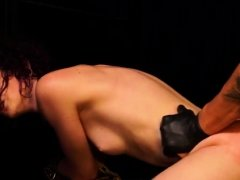Ballgagged girl deepthroated whilst sitting on a vibrator