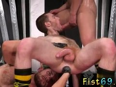 Fisting ass boy and guy makes cum from fucking him gay