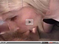 Amateur Blonde Shemale Sucking off a Guy