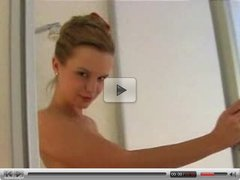 Blonde Girl Soaps Up Her Boobs In The Shower