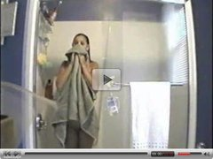 Hidden cam. My girlfriend taking shower in bathroom. Great tits !