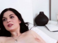 European brunette tries big cock in her ass
