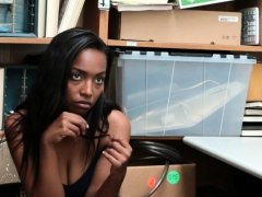 Ebony teen thief fucked