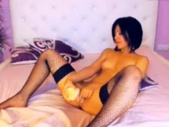 Hot Russian girl in black stockings toying her asshole