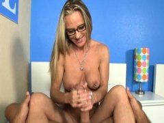 Spex MILF wanking cock after getting naked