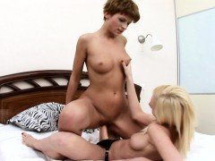 Lesbian lovers Anne and Cherry licking and kissing on