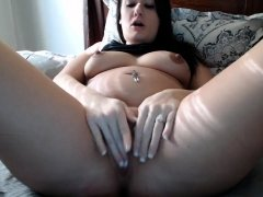 Old grand mature with big boobs masturbate on the chair