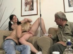 Hot girl sucks and rides old man's cock