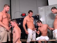 Work out ends with blowjpb and gang bang for lewd gay guys