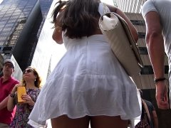 Upskirt voyeur video with a hot teen