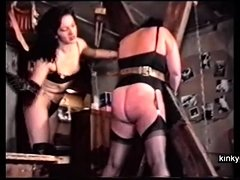 French BDSM couple trains chubby slave