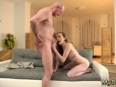 Old slim mature and sugar daddy cums inside first time