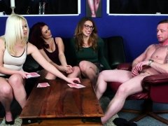 Gorgeous femdoms teasing guy in foursome