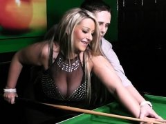Busty blonde in nylons fucked on the pool table