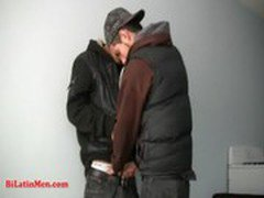 Straight Mexican guy gets his thick uncut pito sucked by another latino guy