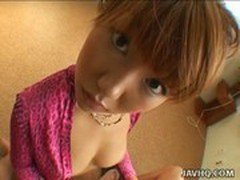 Hot teen Momo Himeno gives a stunning blowjob