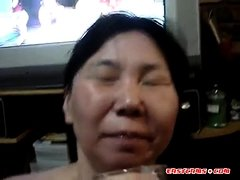 Asian amateur drink piss and cum