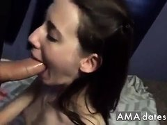 Shy girl sucking her bf's cock at home