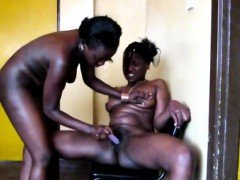 Attractive African babes are having amazing lesbian sex in