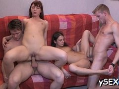 Gangbang ends up for 2 immodest cunts with a lot of orgasms