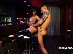 Chubby tranny fucked hard in te bar