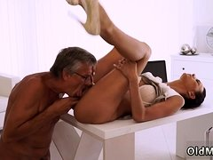 Young brunette licks and fucks old man lady Finally she's