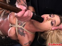 Tattooed BDSM babe gagged with dildo