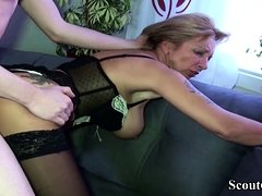 German MILF in Hot Lingerie Seduce Friend of Son to Fuck