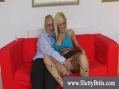 Teasing and masturbating blond for old man