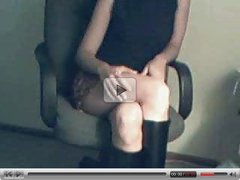 horny girl in miniskirt gets off on cam