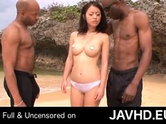 Two Ebony Making A Japanese Woman To Have Sex