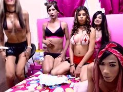 Watch hot group sex with a blond Tgirl