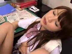 Mizuki Akai sexy teen in school uniform mmf hardcore