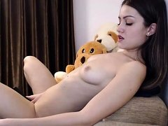 Brunette horny teen hot dancing on webcam